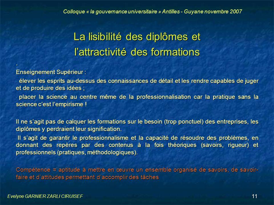 La lisibilité des diplômes et l'attractivité des formations