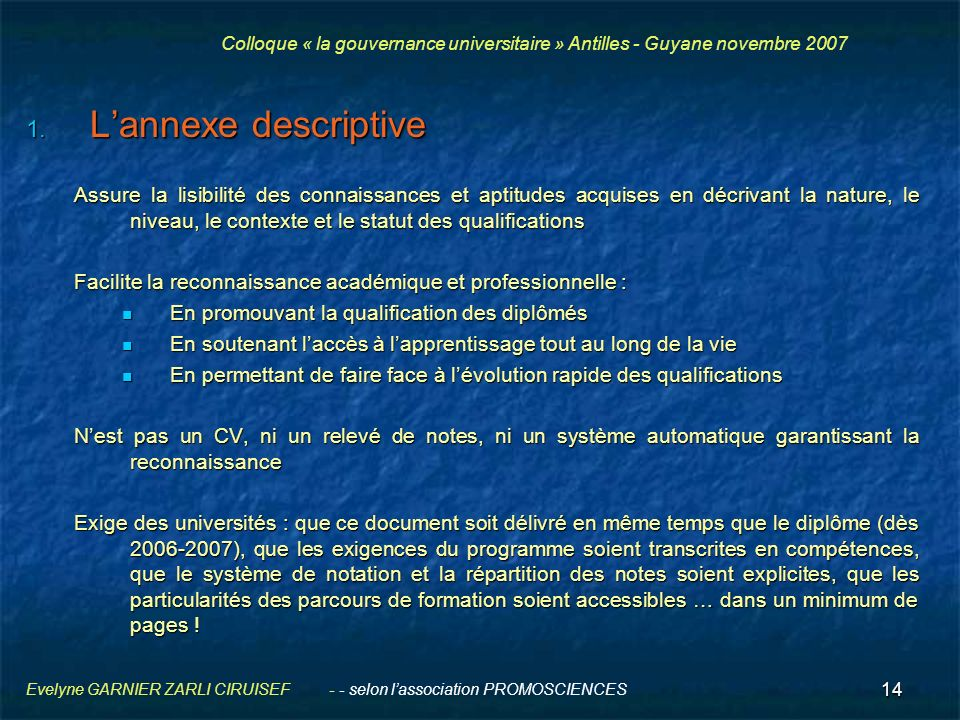 Colloque « la gouvernance universitaire » Antilles - Guyane novembre 2007