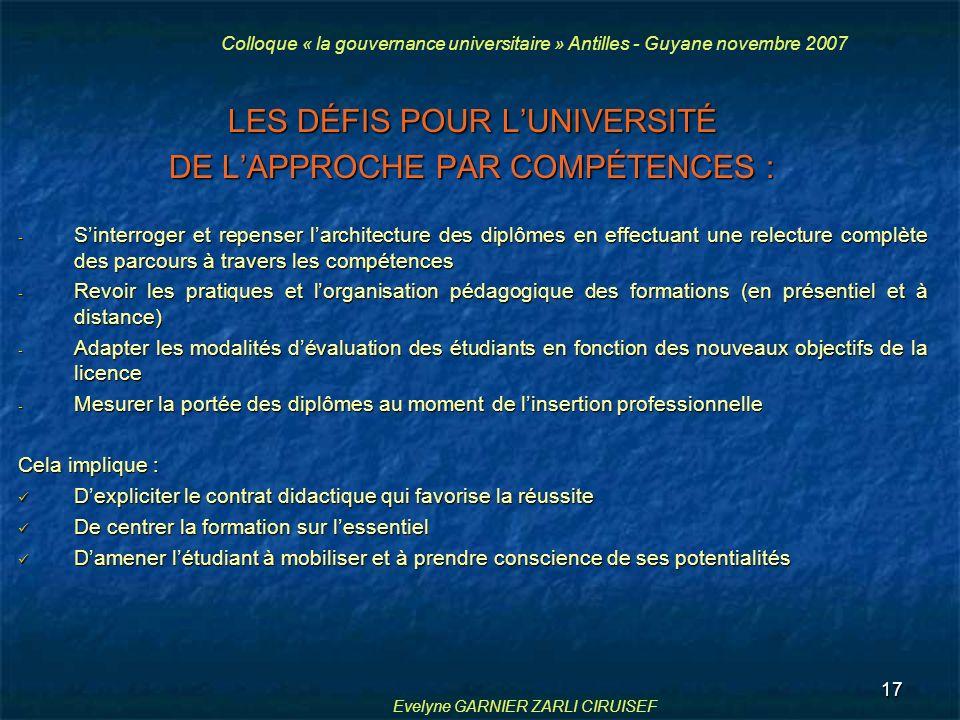 LES DÉFIS POUR L'UNIVERSITÉ DE L'APPROCHE PAR COMPÉTENCES :