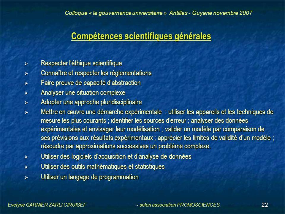 Compétences scientifiques générales