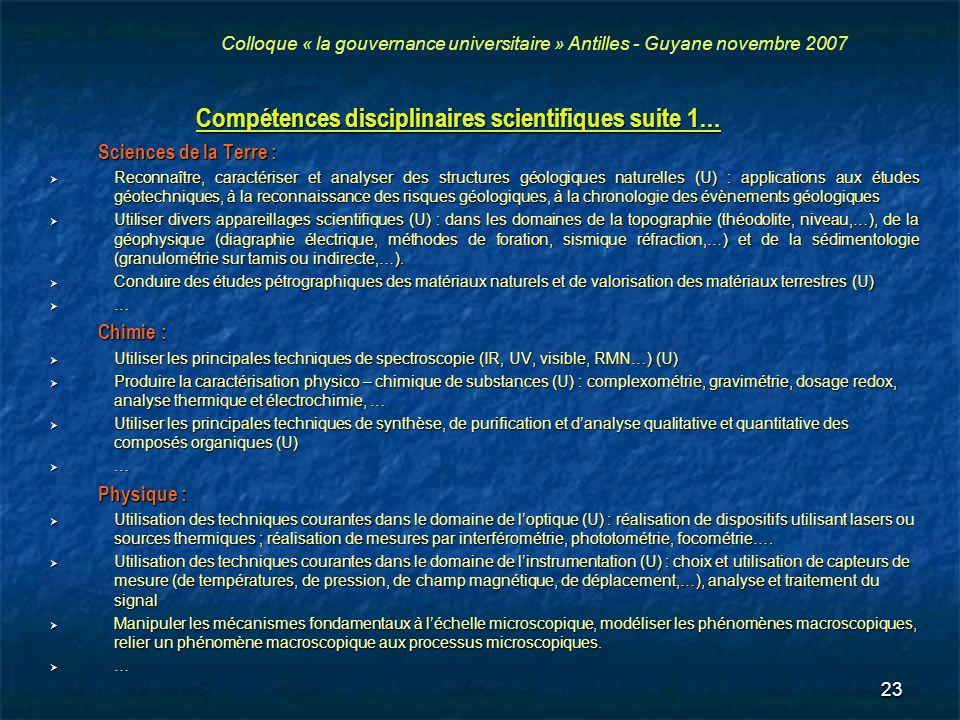 Compétences disciplinaires scientifiques suite 1…