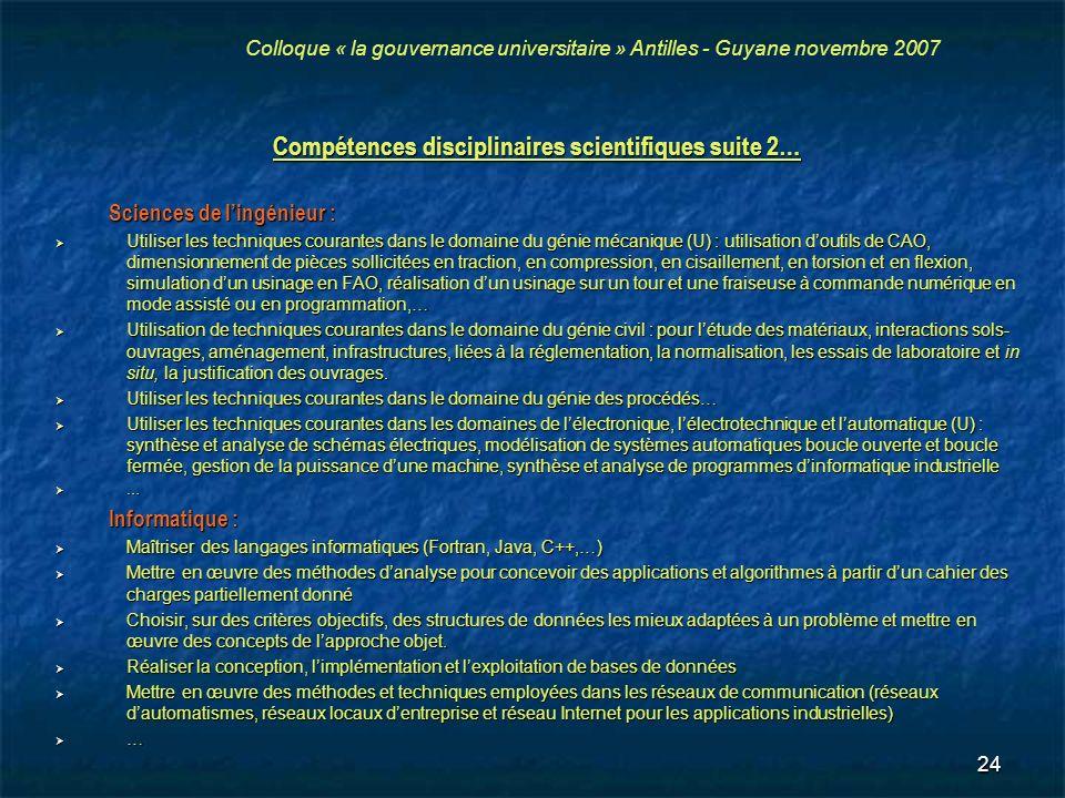 Compétences disciplinaires scientifiques suite 2…