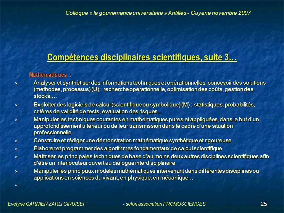 Compétences disciplinaires scientifiques, suite 3…
