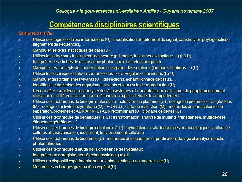 Compétences disciplinaires scientifiques