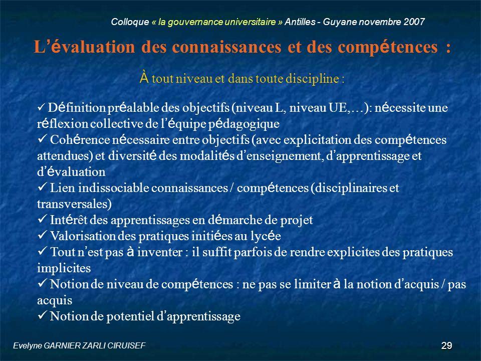L'évaluation des connaissances et des compétences :