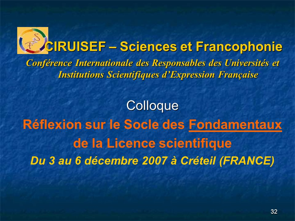 CIRUISEF – Sciences et Francophonie