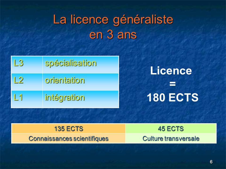 La licence généraliste en 3 ans