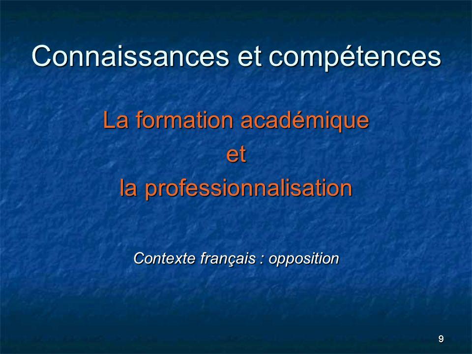 Connaissances et compétences