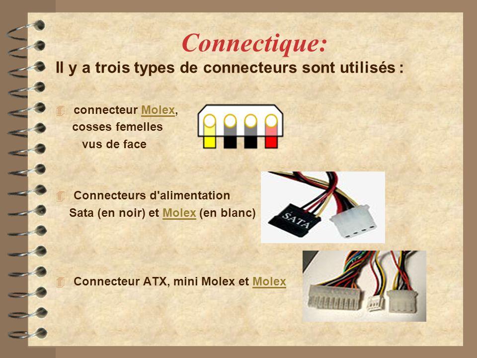 Connectique: Il y a trois types de connecteurs sont utilisés :