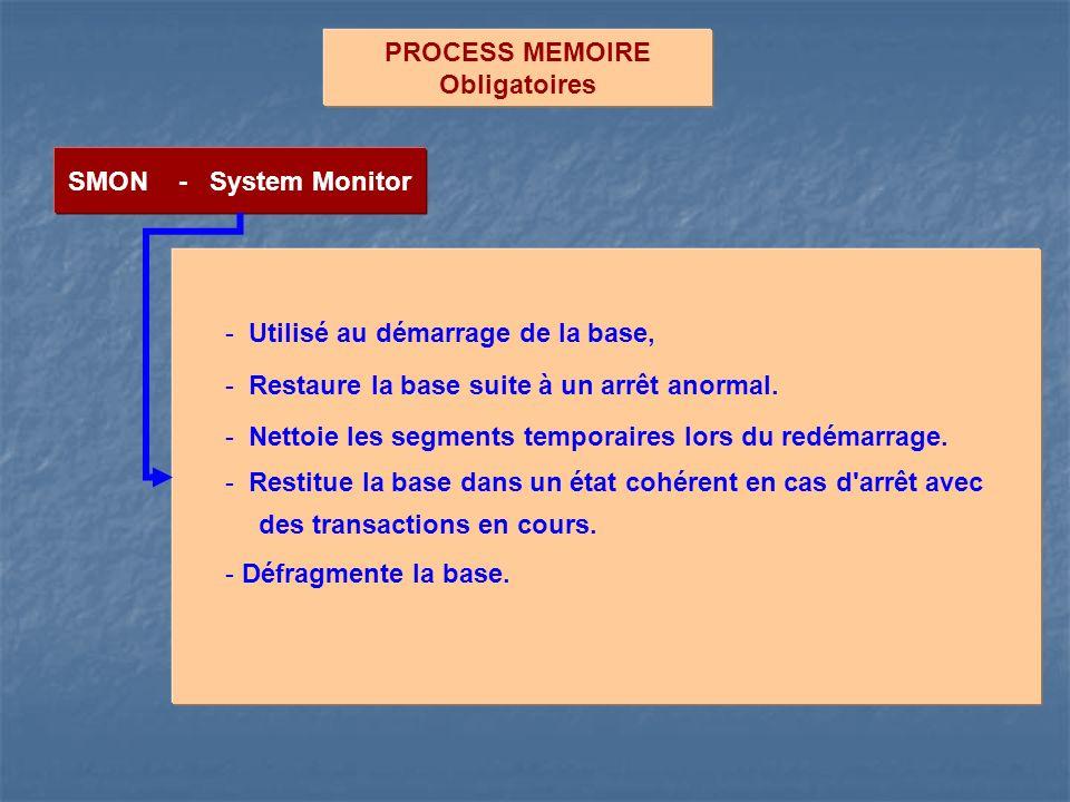 PROCESS MEMOIRE Obligatoires. SMON - System Monitor. Utilisé au démarrage de la base, Restaure la base suite à un arrêt anormal.