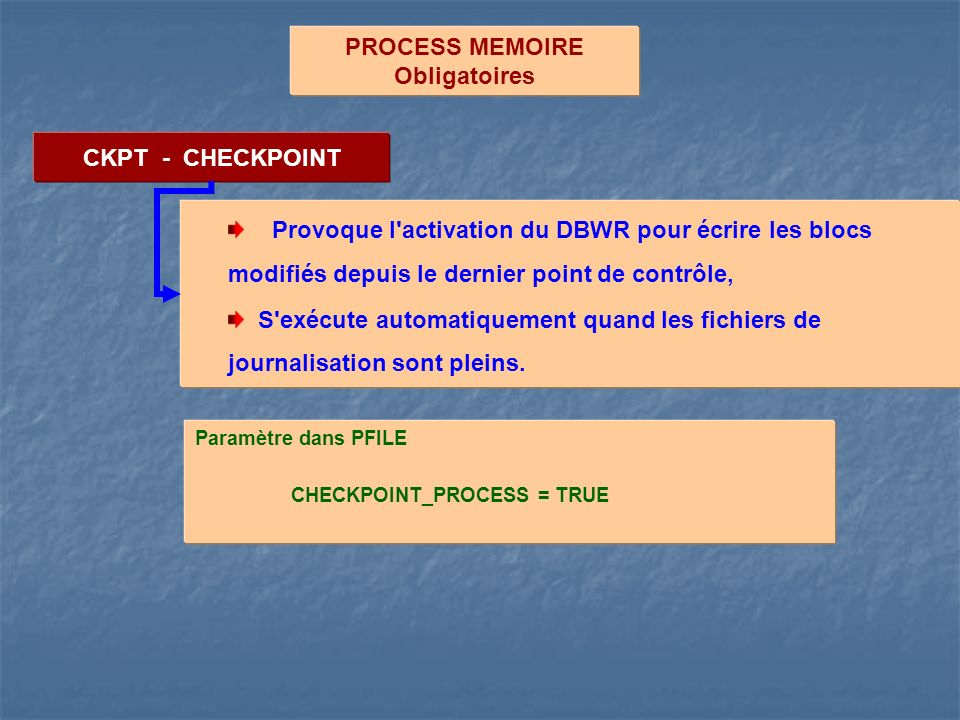 PROCESS MEMOIRE Obligatoires CKPT - CHECKPOINT
