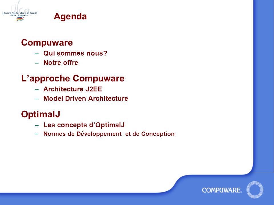 Agenda Compuware L'approche Compuware OptimalJ Qui sommes nous