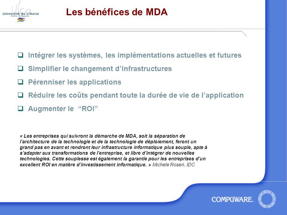 Les bénéfices de MDA Intégrer les systèmes, les implémentations actuelles et futures. Simplifier le changement d'infrastructures.