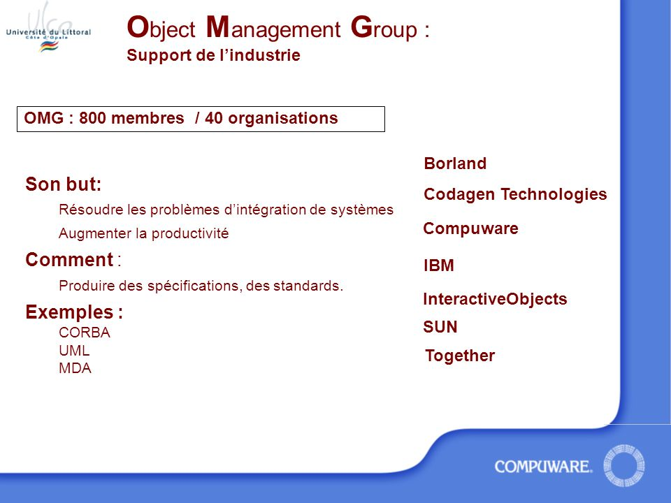 Object Management Group : Support de l'industrie