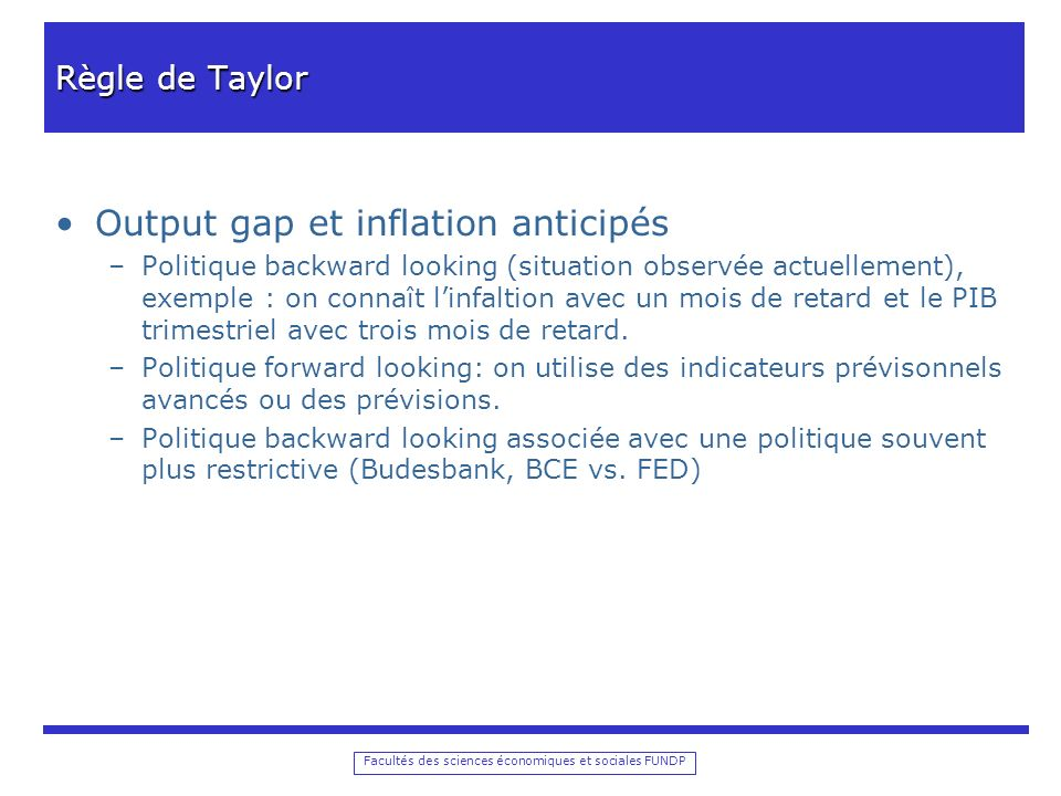 Output gap et inflation anticipés