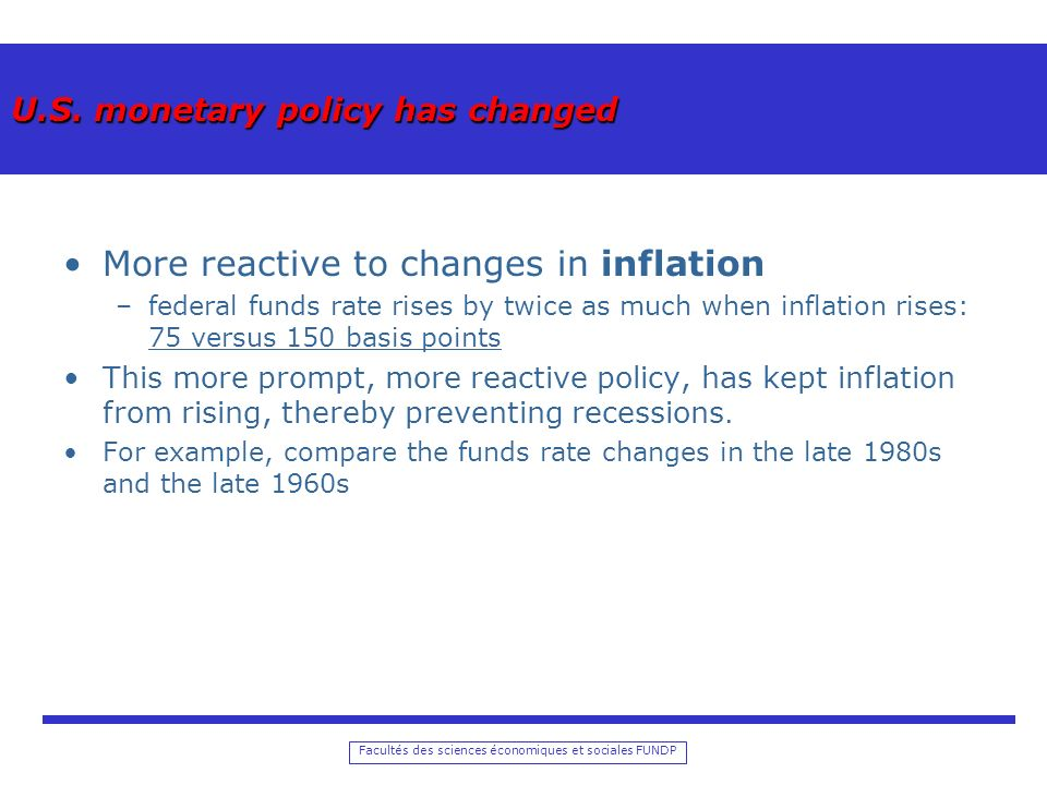 U.S. monetary policy has changed