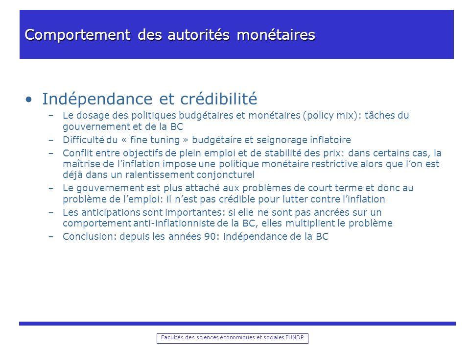 Comportement des autorités monétaires