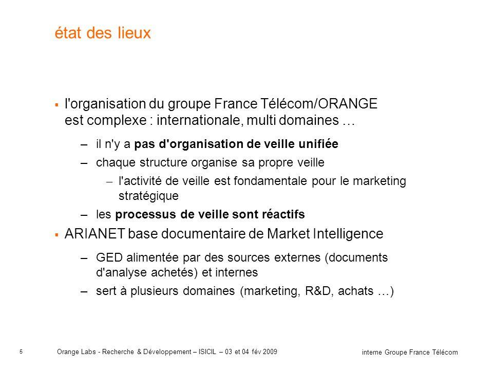 état des lieux l organisation du groupe France Télécom/ORANGE est complexe : internationale, multi domaines …