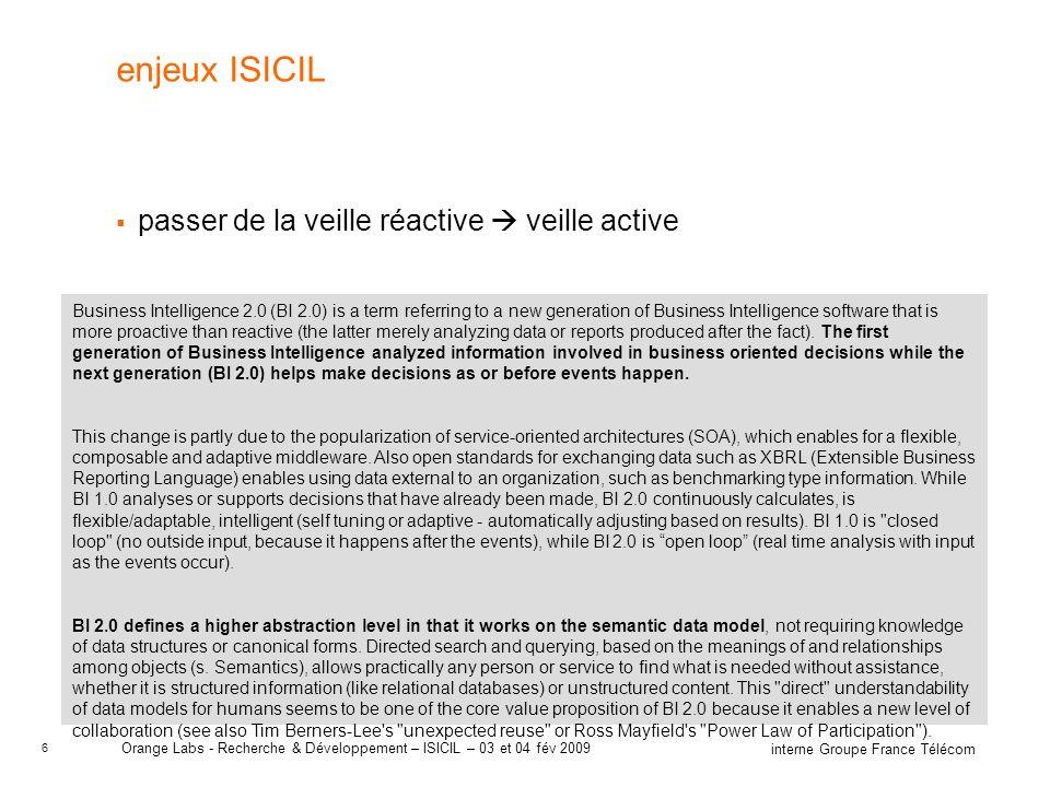 enjeux ISICIL passer de la veille réactive  veille active