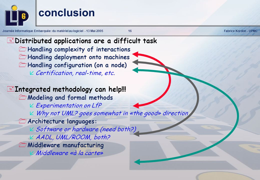 conclusion Distributed applications are a difficult task