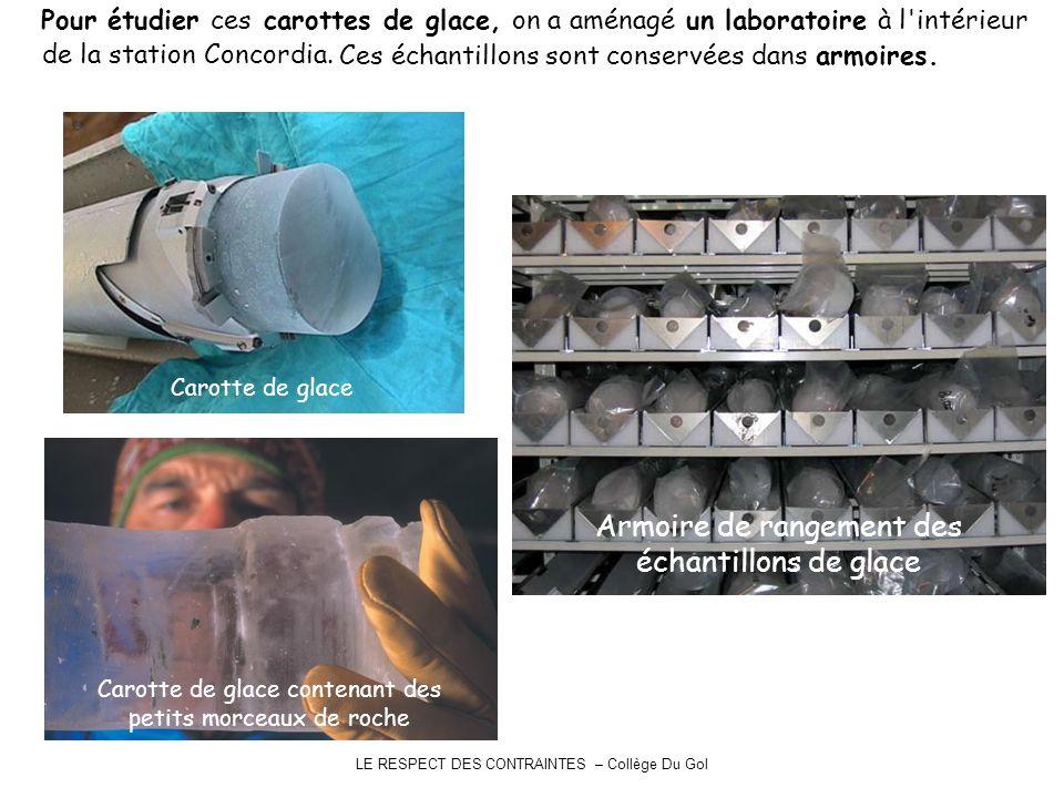Armoire de rangement des échantillons de glace