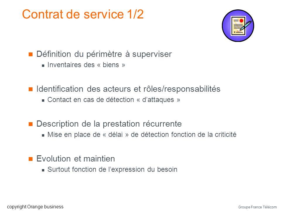 Contrat de service 1/2 Définition du périmètre à superviser