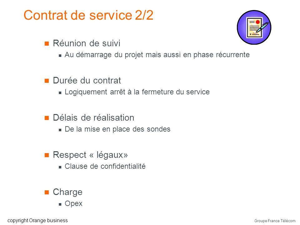 Contrat de service 2/2 Réunion de suivi Durée du contrat