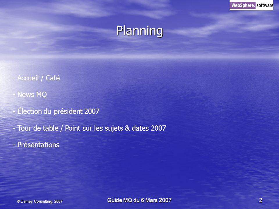 Planning Accueil / Café - News MQ Élection du président 2007