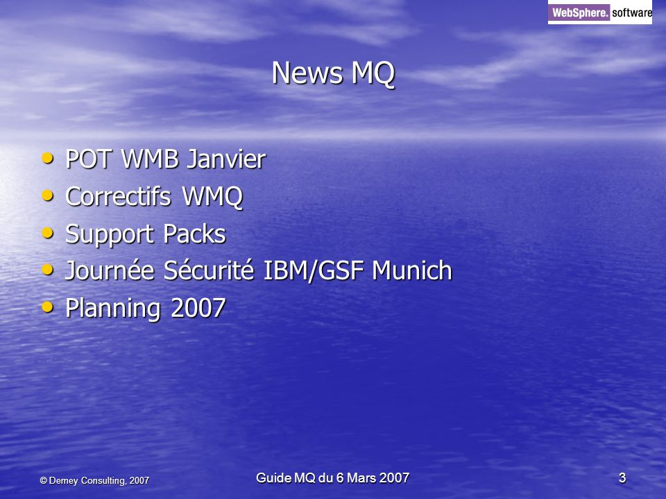 News MQ POT WMB Janvier Correctifs WMQ Support Packs
