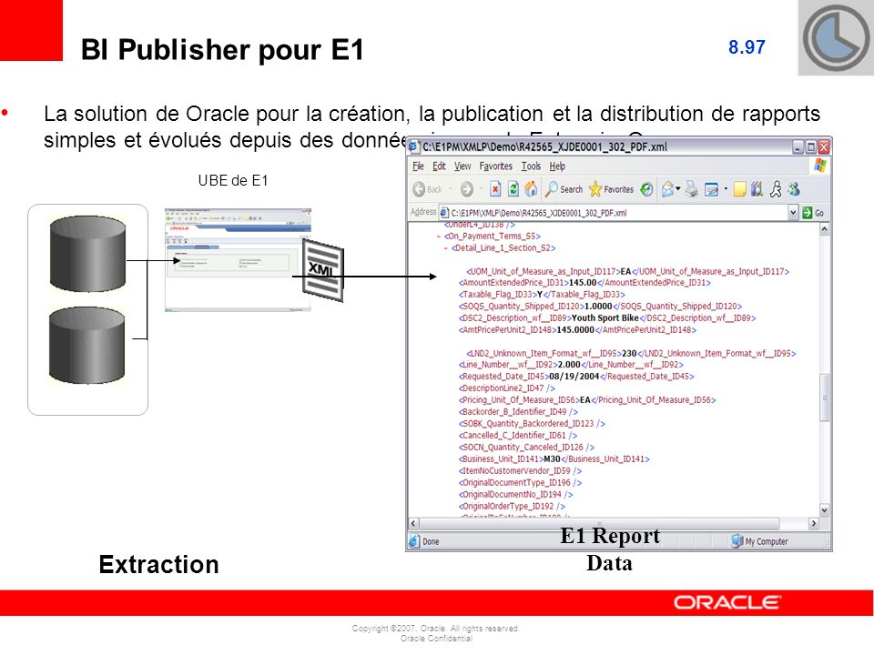 E1 Report Data BI Publisher pour E1 Extraction