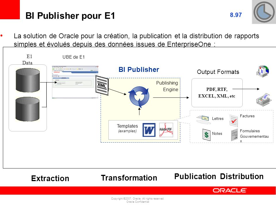 BI Publisher pour E1 E1 Data Publication Distribution Extraction