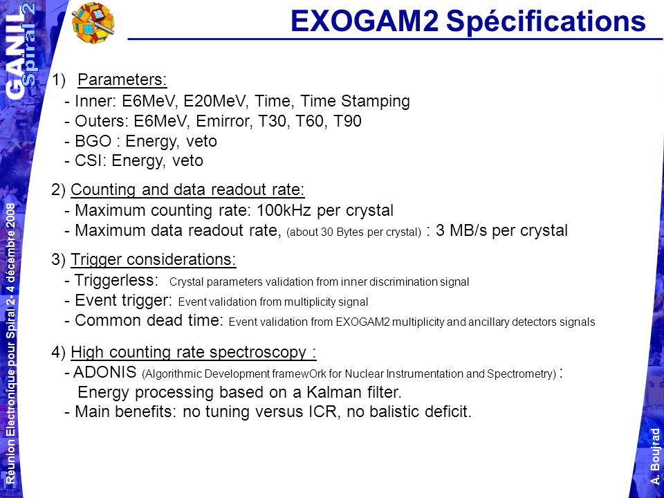 EXOGAM2 Spécifications