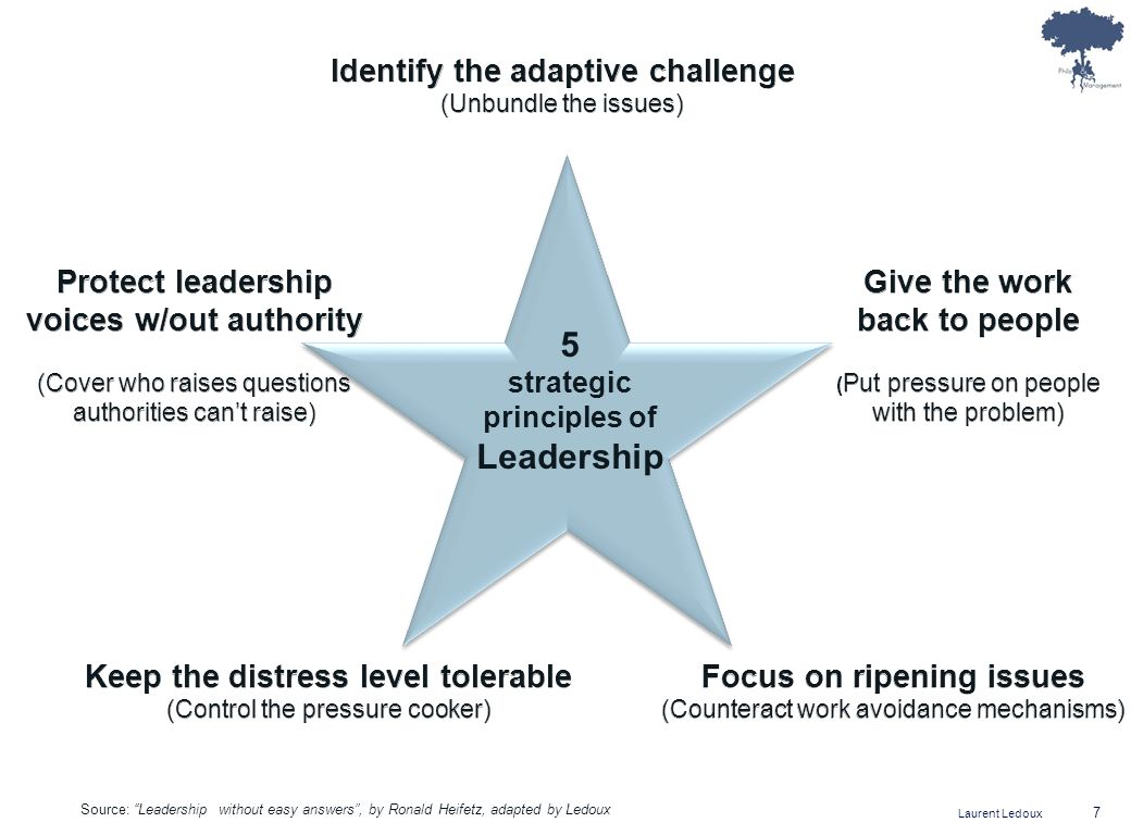 5 Leadership Identify the adaptive challenge Protect leadership