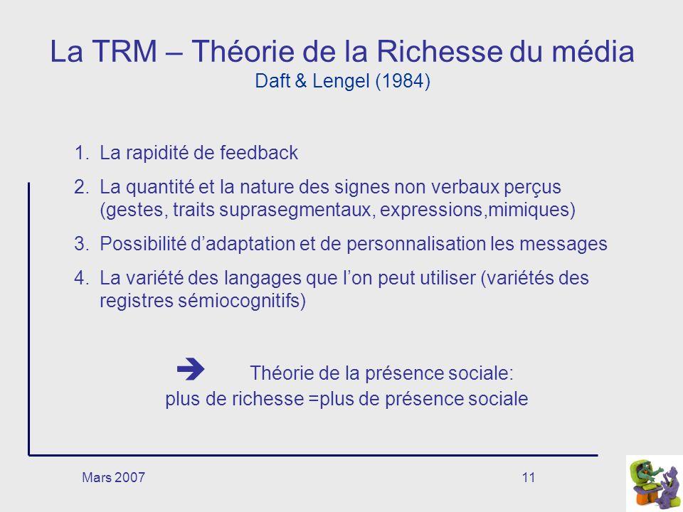 La TRM – Théorie de la Richesse du média Daft & Lengel (1984)