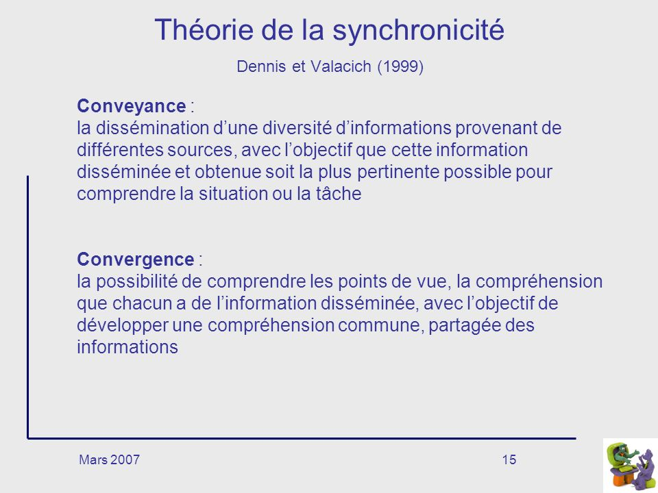 Théorie de la synchronicité Dennis et Valacich (1999)