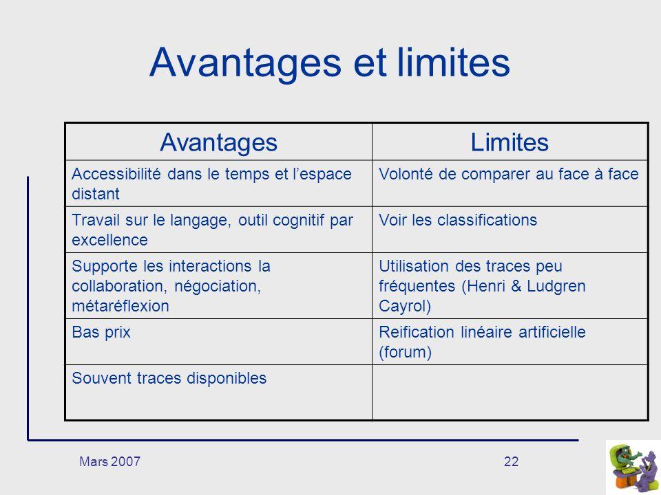 Avantages et limites Avantages Limites