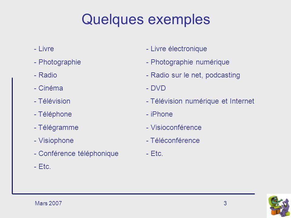 Quelques exemples Livre Photographie Radio Cinéma Télévision Téléphone
