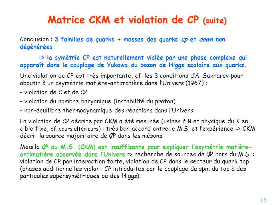 Matrice CKM et violation de CP (suite)