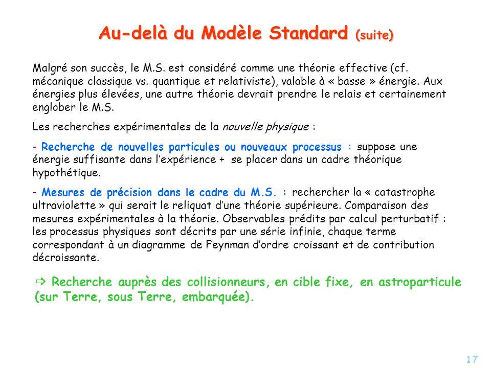 Au-delà du Modèle Standard (suite)