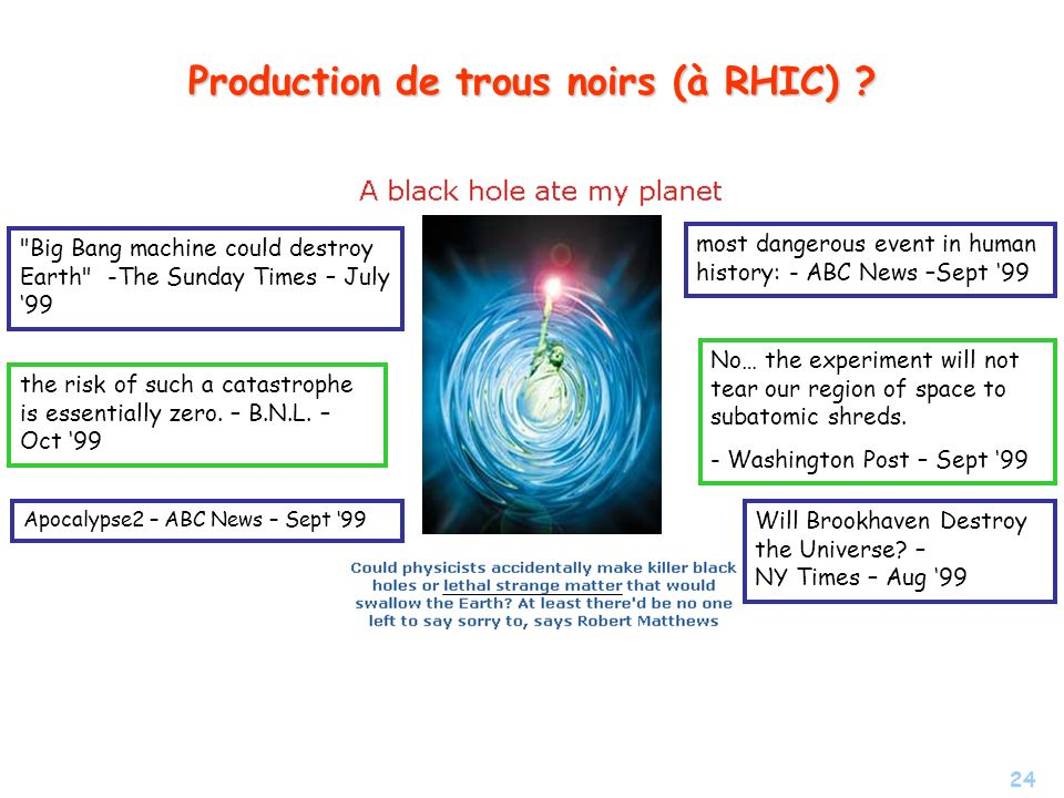 Production de trous noirs (à RHIC)