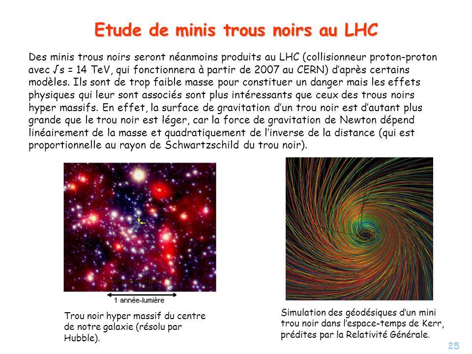 Etude de minis trous noirs au LHC