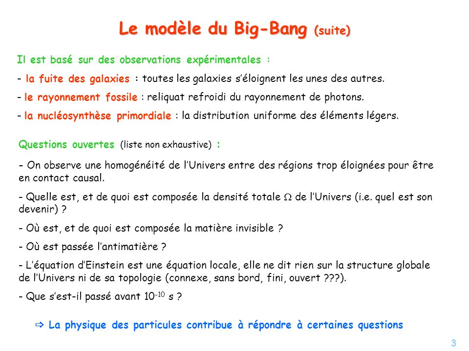 Le modèle du Big-Bang (suite)