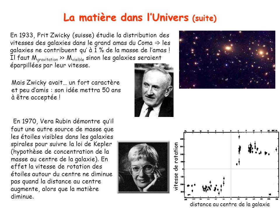La matière dans l'Univers (suite)