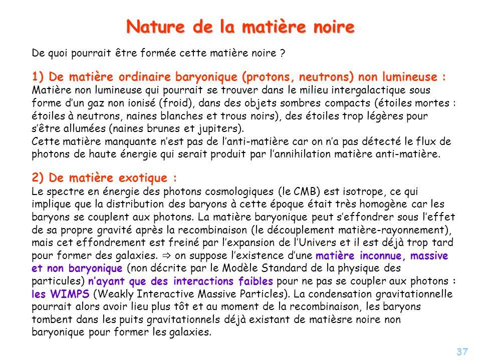 Nature de la matière noire