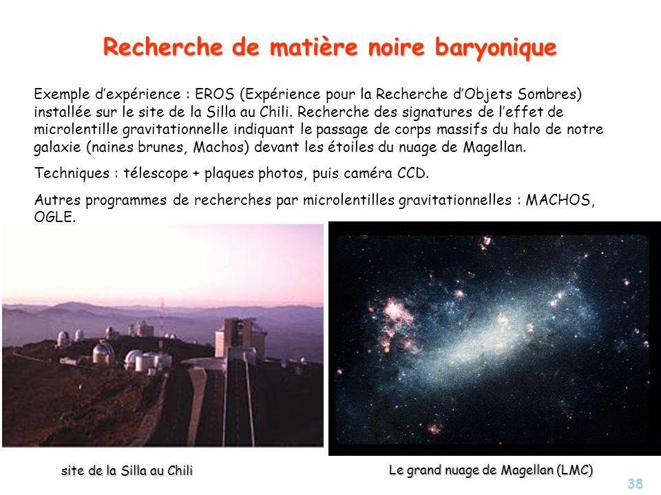 Recherche de matière noire baryonique