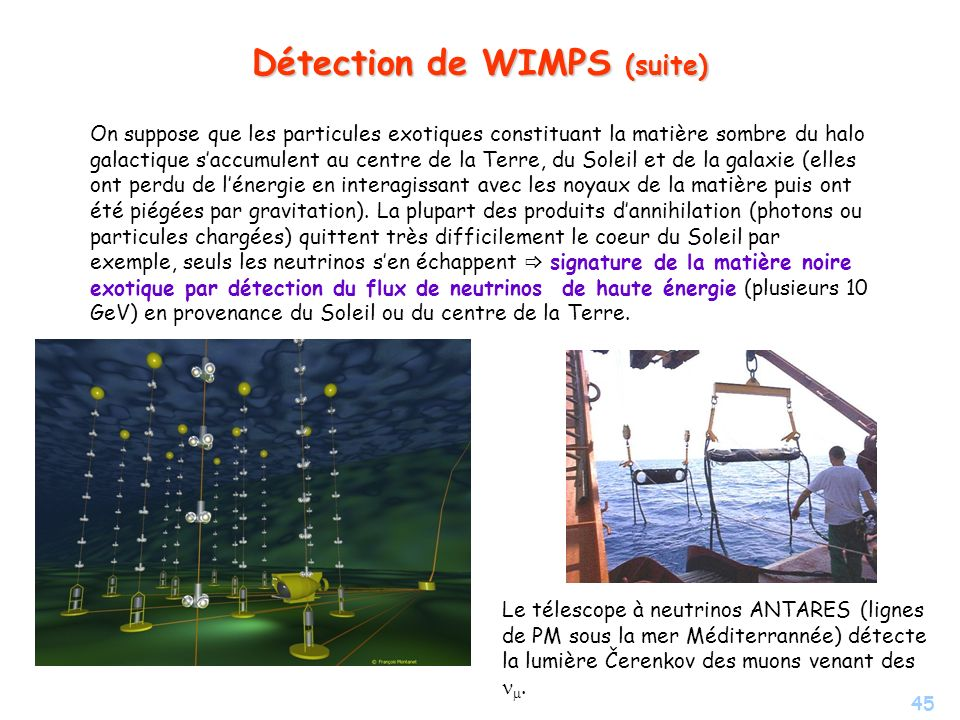 Détection de WIMPS (suite)