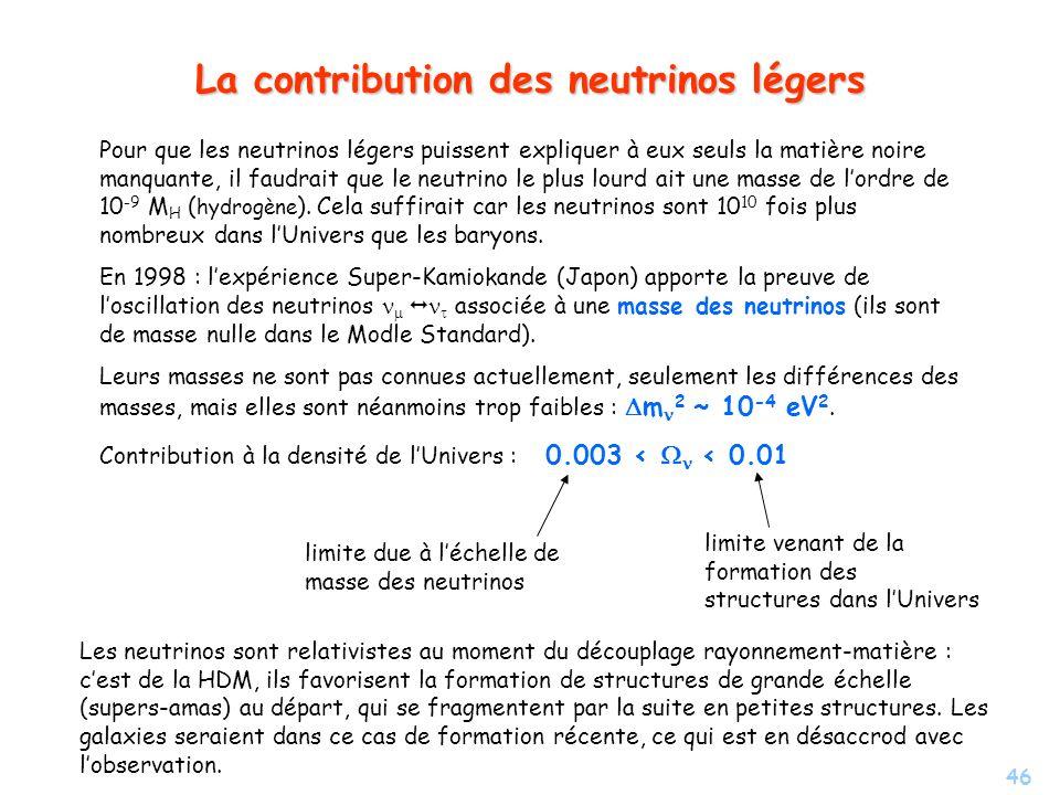 La contribution des neutrinos légers
