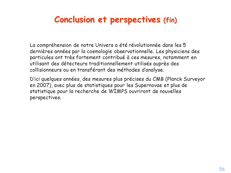 Conclusion et perspectives (fin)
