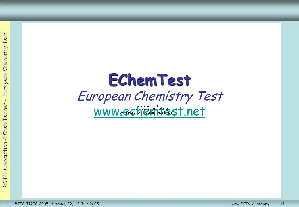 EChemTest European Chemistry Test www.echemtest.net