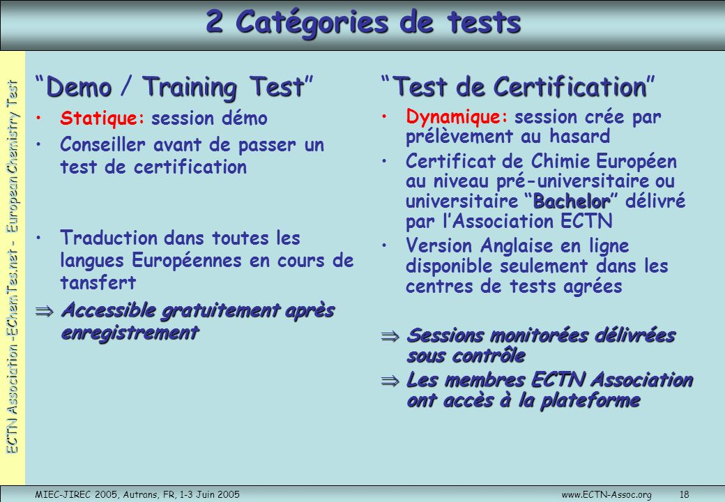 2 Catégories de tests Demo / Training Test Test de Certification